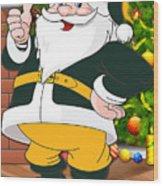 Packers Santa Claus Wood Print
