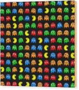 Pacman Seamless Generated Pattern Wood Print