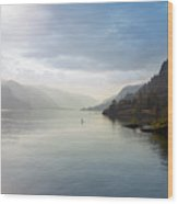 Paddle Boarding On The Columbia River Wood Print