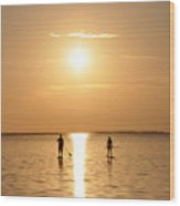 Paddle Boarding Out Of The Sunset Wood Print