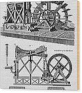 Paddle-driven Beam-engine Suction Pump Wood Print