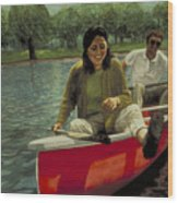 Paddle Your Own Red Canoe Wood Print