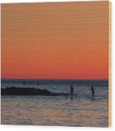 Paddleboarding Pairs - Mackinzie Beach Sunset Wood Print