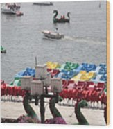 Paddleboats Waiting In The Inner Harbor At Baltimore Wood Print