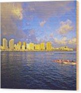 Paddling Beneath Rainbow Wood Print by Carl Shaneff - Printscapes