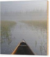 Paddling Into The Fog Wood Print