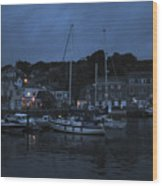 Padstow Harbor At Night Wood Print