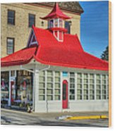 Pagoda Gas Station Wood Print