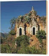 Pagoda In Ruins Wood Print