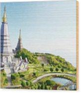 Pagoda On Doi Inthanon, Chiang Mai, Thailand.  Wood Print