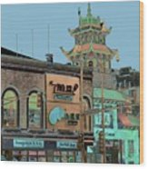 Pagoda Tower Chinatown Chicago Wood Print by Marianne Dow