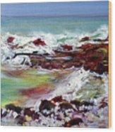 Pahoehoe Winter Surf Wood Print
