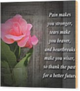Pain Makes You Stronger Motivational Quotes Wood Print