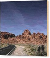 Paint Mixed Valley Of Fire Landscape  Wood Print