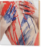 Paint On Woman Body Wood Print