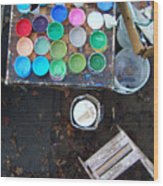 Paint Pots Wood Print