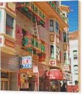 Painted Balconies In San Francisco Chinatown Wood Print