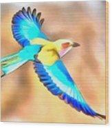 Painted Birds In Skyline Wood Print