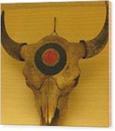 Painted Bison Skull Wood Print