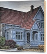 Painted Blue House Wood Print