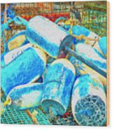 Painted Buoys Wood Print