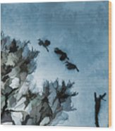 Painted Cranes Wood Print