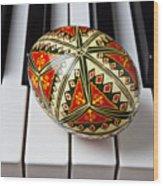 Painted Easter Egg On Piano Keys Wood Print