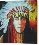 Painted Face Warrior Wood Print