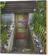 Painted Garden Door Wood Print