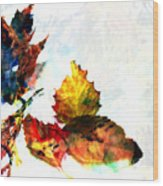 Painted Leaves Abstract 2 Wood Print