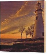 Painted Marblehead Lighthouse Wood Print