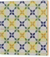 Painted Patterns - Floral Azulejo Tiles In Blue Green And Yellow Wood Print