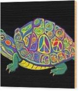 Painted Peace Turtle Too Wood Print
