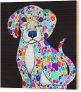 Painted Puppy 2 Wood Print by Nick Gustafson