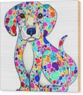 Painted Puppy Wood Print