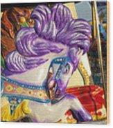 Painted Purple Pony Wood Print