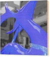 Painted Reindeer Blue Wood Print
