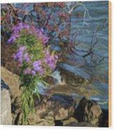 Painted River Flower Wood Print