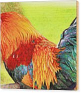 Painted Rooster Wood Print