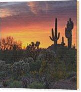 Painted Skies Of The Sonoran Desert Wood Print