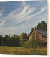 Painted Sky Barn Wood Print by Benanne Stiens
