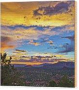 Painted Sky's Over Sedona Wood Print