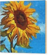 Painted Sunflower Wood Print