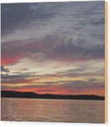 Painted Sunset On Gunflint Lake Wood Print