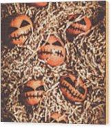 painted tangerines for Halloween Wood Print