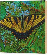 Painted Yellow Swallowtail Wood Print