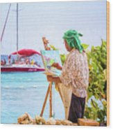 Painter At Work, Holetown Beach, Barbados Wood Print