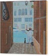 Painter In Venice Wood Print