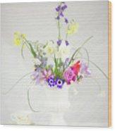 Painterly Homegrown Floral Bouquet Wood Print