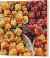 Painterly Peppers Wood Print